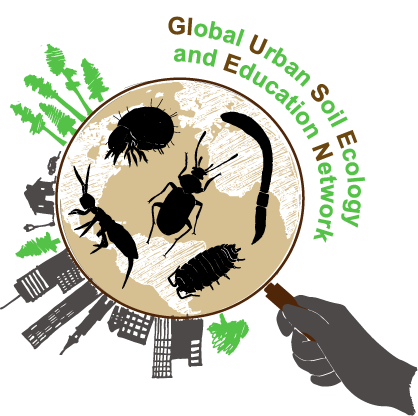 The original GLUSEEN logo: a hand holding a magnifying glass looking at organisms in urban and forest environments
