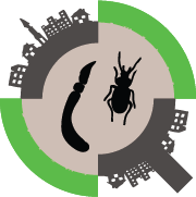 GLUSEEN logo: an insect and earthworm in a magnifying glass in an urban environment